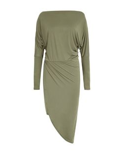 John Zack Khaki Asymmetric Long Sleeve Dress | New Look