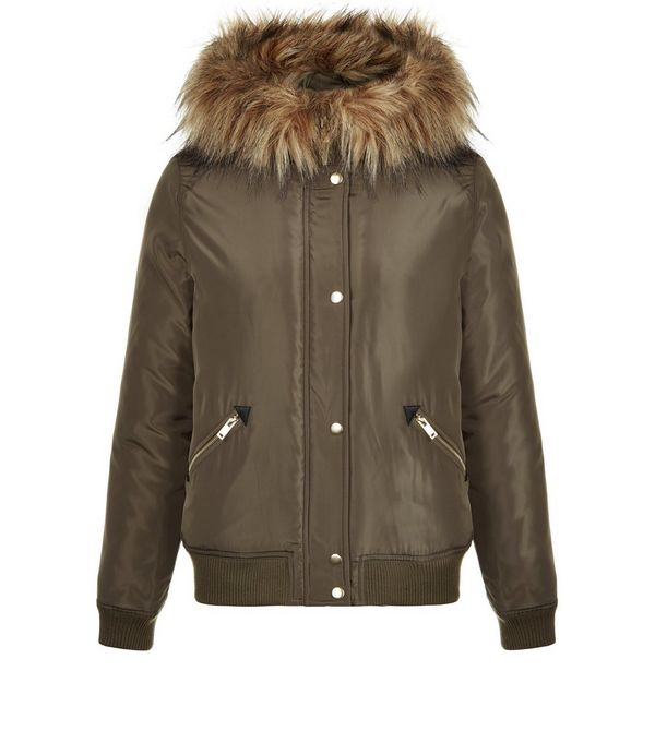 Khaki Hooded Faux Fur Trim Bomber Jacket