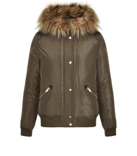 Khaki Hooded Faux Fur Trim Bomber Jacket | New Look