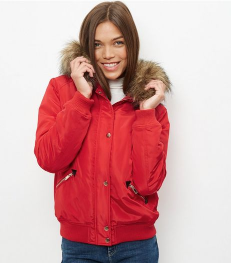 Red Padded Faux Fur Trim Hooded Bomber Jacket  | New Look