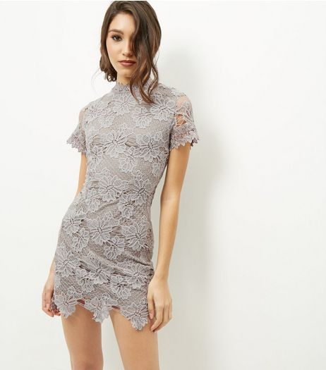 AX Paris Grey Funnel Neck Lace Dress | New Look