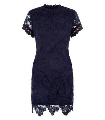 AX Paris Navy Lace High Neck Dress