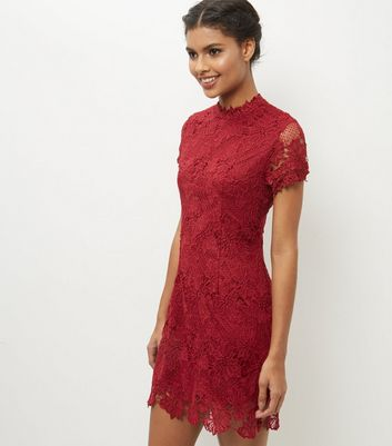 AX Paris Red High Neck Lace Bodycon Dress