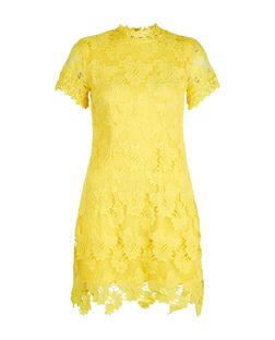 AX Paris Yellow Lace High Neck Dress  | New Look