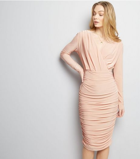 AX Paris Pink Ruched V Neck Wrap Front Dress | New Look