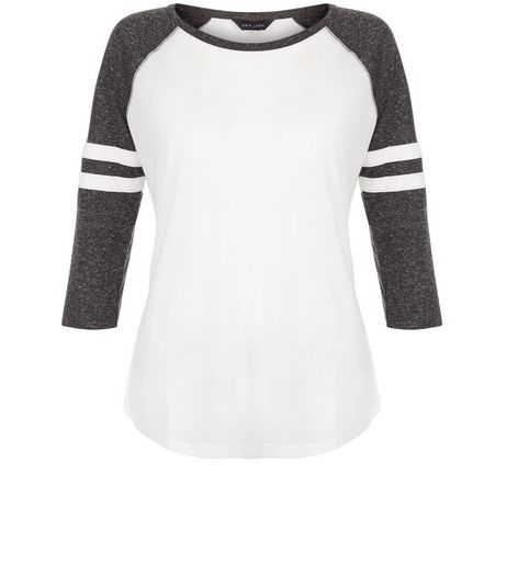 Grey Stripe Sleeve Raglan Top | New Look