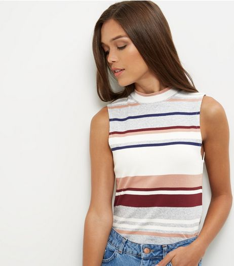 Grey Stripe Funnel Neck Sleeveless Top | New Look