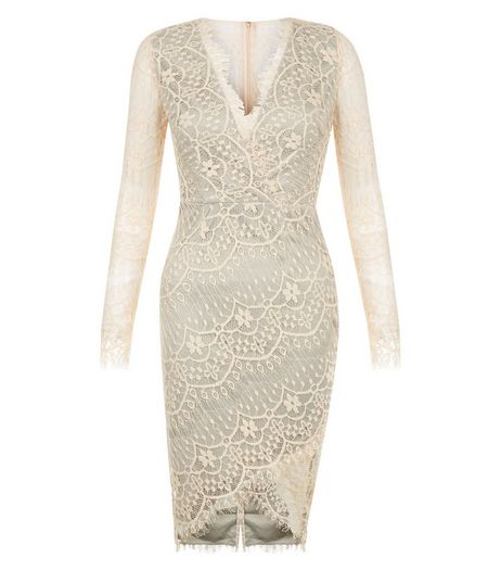 AX Paris Stone Lace Wrap Long Sleeve Dress | New Look