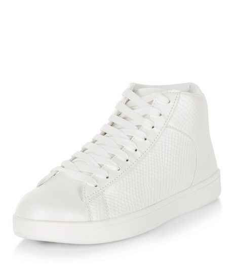 White Leather-Look Hi-Top Plimsolls | New Look