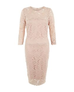 AX Paris Stone Lace 3/4 Sleeve Dress | New Look