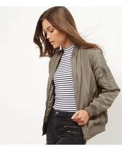 Stone Padded Bomber Jacket | New Look
