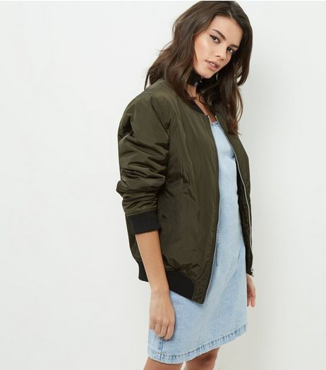 Dark Green Padded Bomber Jacket | New Look
