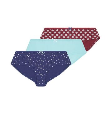 Teens 3 Pack Dark Red Green and Navy Briefs