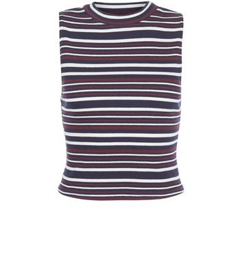 red-stripe-funnel-neck-sleeveless-top