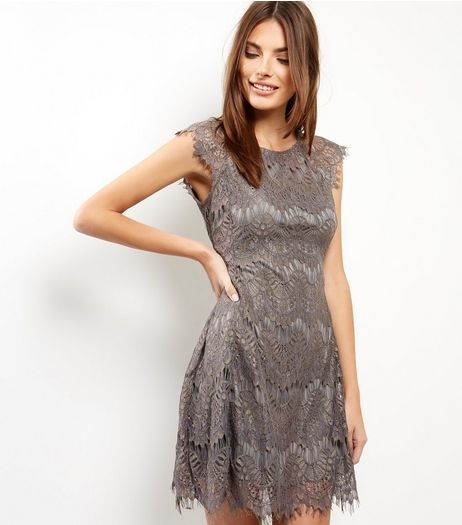 AX Paris Grey Crochet Lace Skater Dress | New Look