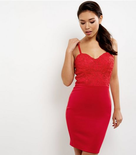 AX Paris Red Lace Panel Strappy Dress | New Look