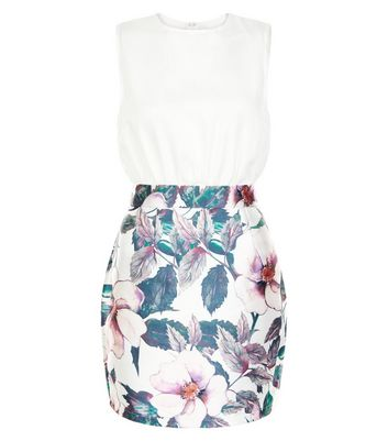 Product photo of Ax paris white floral print 2 in 1 dress