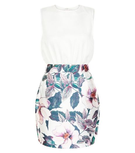 AX Paris White Floral Print 2 in 1 Dress | New Look