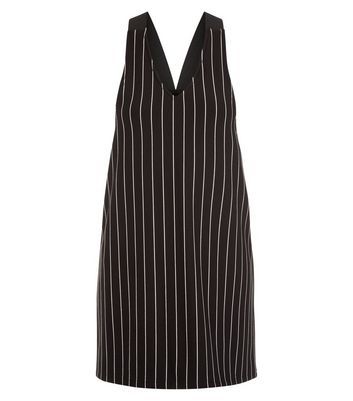 Product photo of Teens black pinstripe pinafore dress
