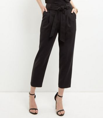 Black Tie Waist Tapered Trousers