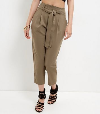 Olive Green Tie Waist Tapered Trousers