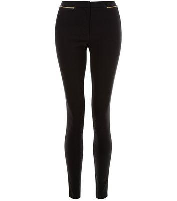 Black Zip Pocket Bengaline Slim Leg Trousers