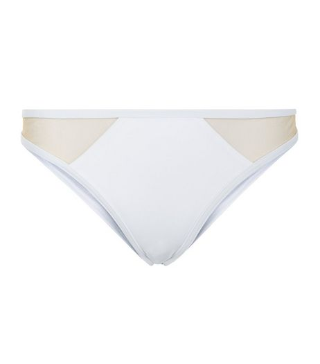 White Contrast Mesh Panel Bikini Bottoms | New Look