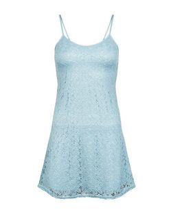 Teens Pale Blue Lace Slip Dress | New Look