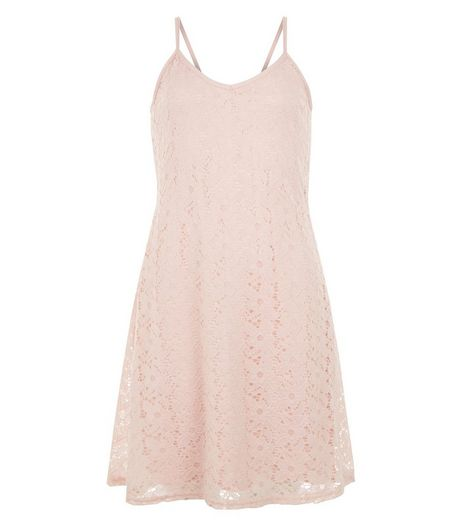 Teens Pink Lace Slip Dress | New Look