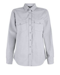 Grey Cord Double Pocket Long Sleeve Shirt  | New Look