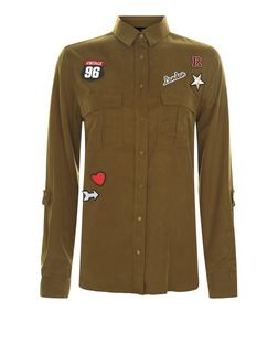 Khaki Badge Patchwork Double Pocket Military Shirt  | New Look