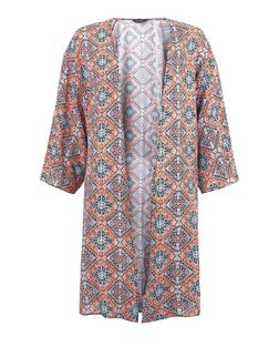 Orange Aztec Print Longline Kimono  | New Look