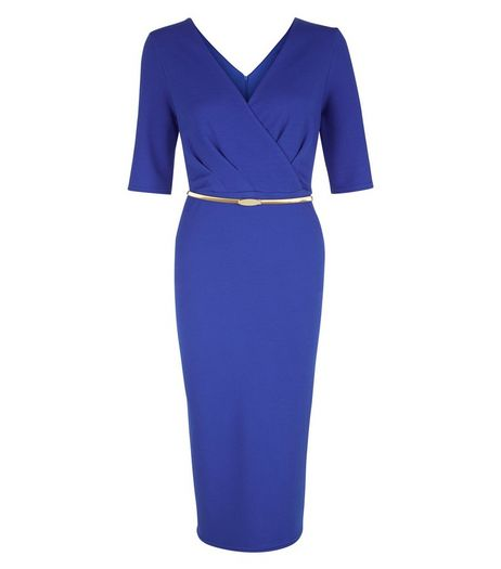 Tall Blue Belted Wrap Bodycon Dress | New Look