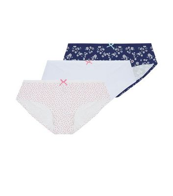 Teens 3 Pack White Pink and Blue Briefs