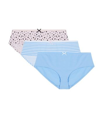 Teens 3 Pack Blue and Pink Stripe Heart Print Briefs