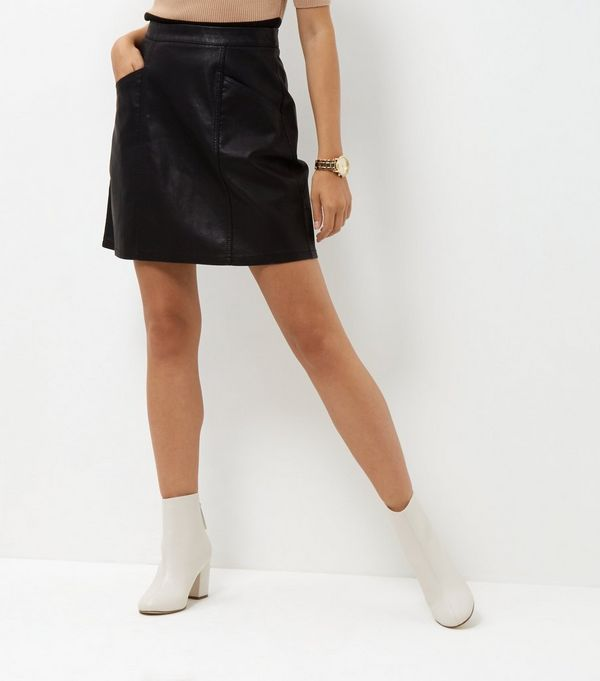 Tall Black Leather-Look Skirt