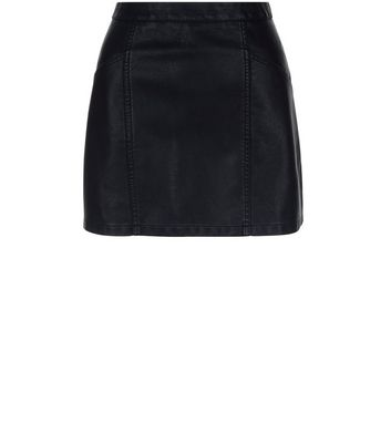 Petite Black Leather-Look Skirt