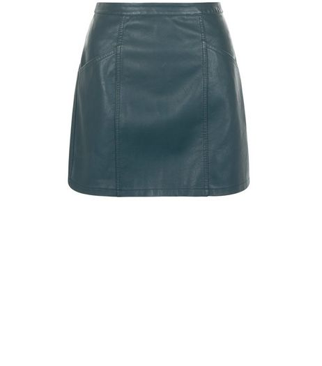 Petite Dark Green Leather-Look Skirt | New Look