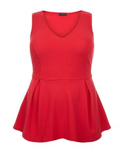 Curves Red Peplum Top | New Look