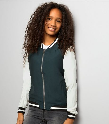 Teens Dark Green Contrast Sleeve Bomber Jacket | New Look
