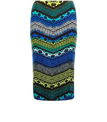 Gonna  donna Blue Tribal Zig Zag Print Pencil Skirt