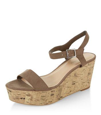 Sandalo  donna Light Brown Suedette Ankle Strap Contrast Flatform