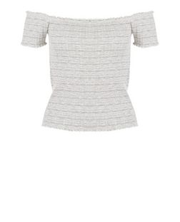 Light Grey Fine Knit Stripe Fray Trim Bardot Neck Top  | New Look