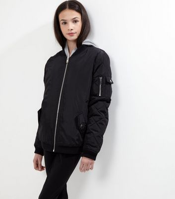 Teens Black Quilted Bomber Jacket