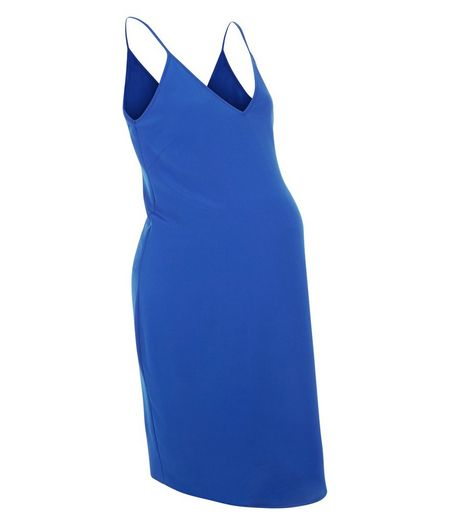 Maternity Blue V Neck Cami Slip Dress | New Look