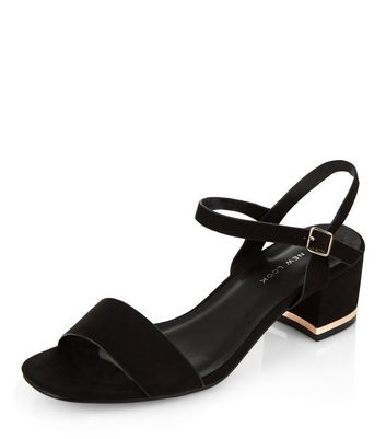Sandalo  donna Wide Fit Black Suede Metal Trim Mid Block Heeled Sandals