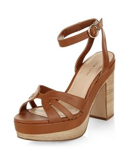 Tan Cut Out Ankle Strap Platform Heels | New Look