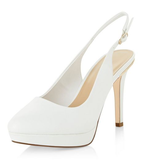 Wide Fit White Pointed Sling Back Heels  | New Look