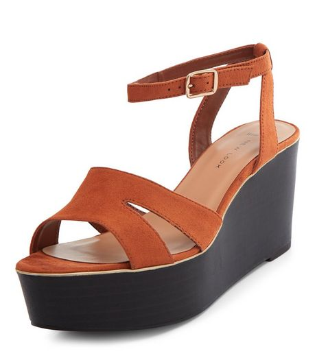 Wide Fit Tan Suedette Flatform Sandals  | New Look