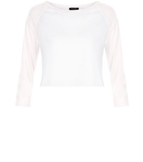 Pink Colour Block Raglan Crop Top | New Look